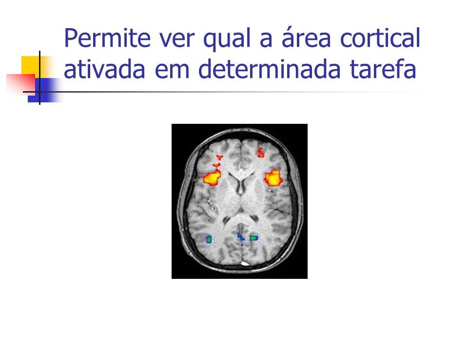 Permite ver qual a área cortical ativada em determinada tarefa