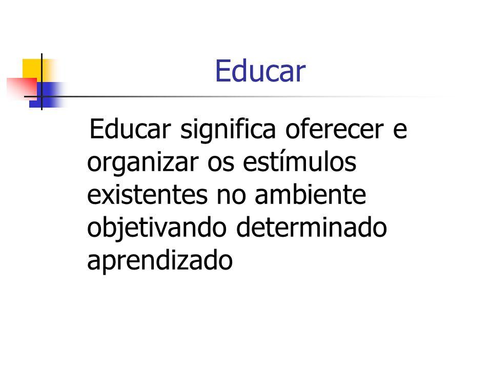 Educar Educar significa oferecer e organizar os estímulos existentes no ambiente objetivando determinado aprendizado