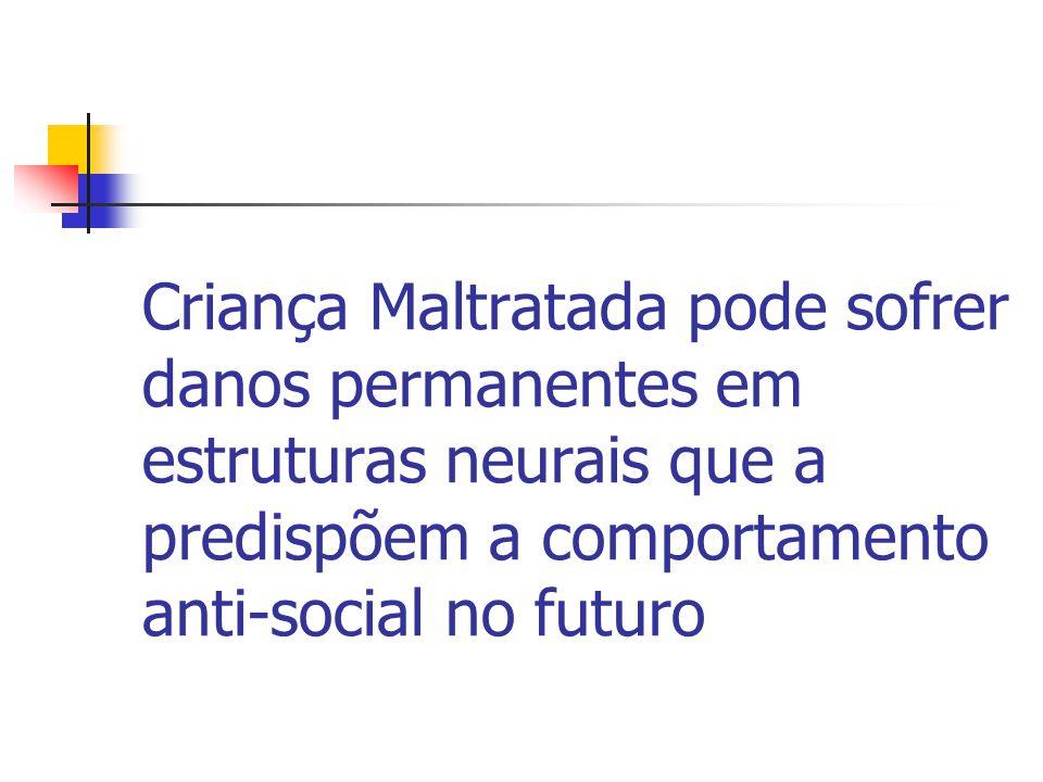 Criança Maltratada pode sofrer danos permanentes em estruturas neurais que a predispõem a comportamento anti-social no futuro
