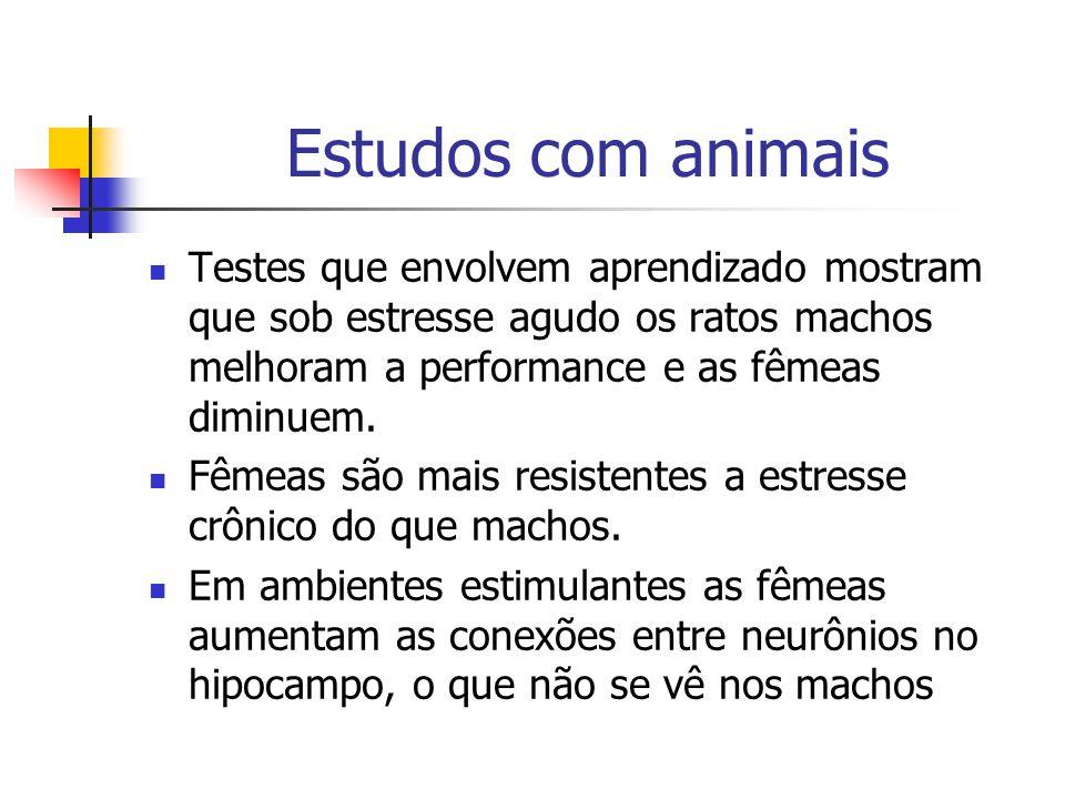 Estudos com animais Testes que envolvem aprendizado mostram que sob estresse agudo os ratos machos melhoram a performance e as fêmeas diminuem. Fêmeas