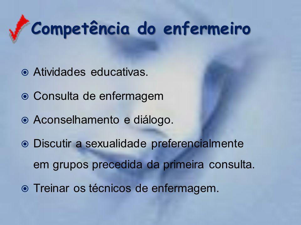 Competência do enfermeiro Competência do enfermeiro  Atividades educativas.  Consulta de enfermagem  Aconselhamento e diálogo.  Discutir a sexuali