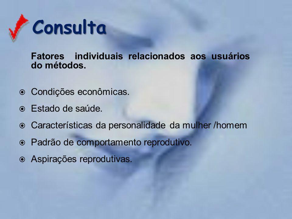 Fatores individuais relacionados aos usuários do métodos.  Condições econômicas.  Estado de saúde.  Características da personalidade da mulher /hom