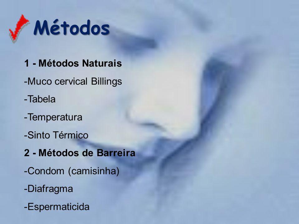 Métodos Métodos 1 - Métodos Naturais -Muco cervical Billings -Tabela -Temperatura -Sinto Térmico 2 - Métodos de Barreira -Condom (camisinha) -Diafragm