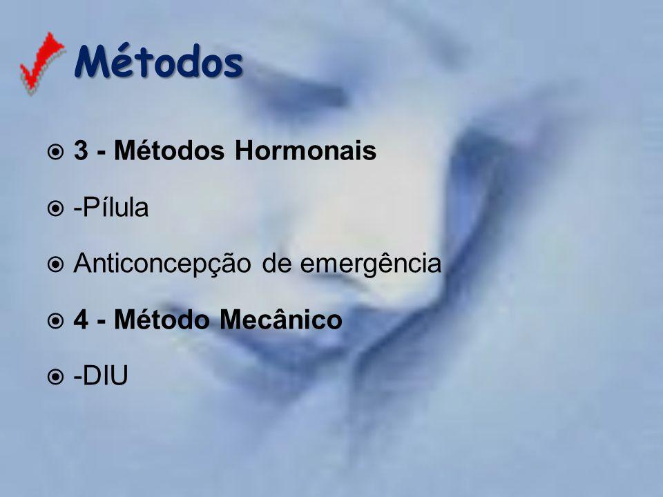 Métodos Métodos  3 - Métodos Hormonais  -Pílula  Anticoncepção de emergência  4 - Método Mecânico  -DIU
