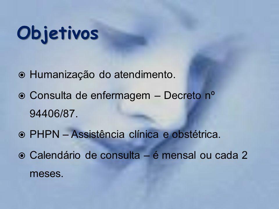  Humanização do atendimento.  Consulta de enfermagem – Decreto nº 94406/87.  PHPN – Assistência clínica e obstétrica.  Calendário de consulta – é