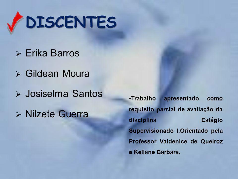 DISCENTES  Erika Barros  Gildean Moura  Josiselma Santos  Nilzete Guerra Trabalho apresentado como requisito parcial de avaliação da disciplina Es