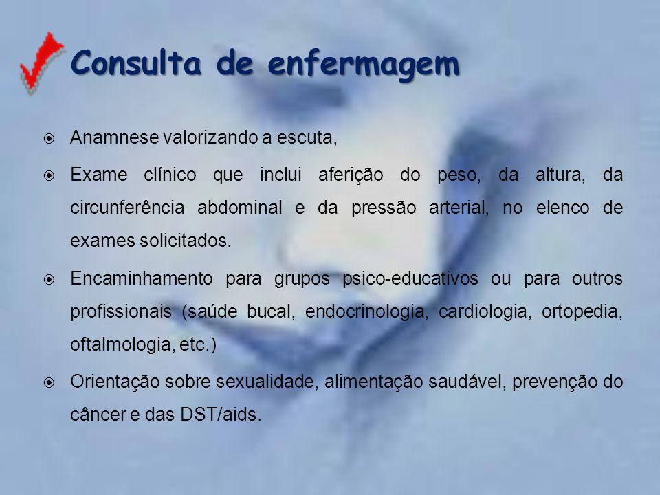 Consulta de enfermagem  Anamnese valorizando a escuta,  Exame clínico que inclui aferição do peso, da altura, da circunferência abdominal e da press
