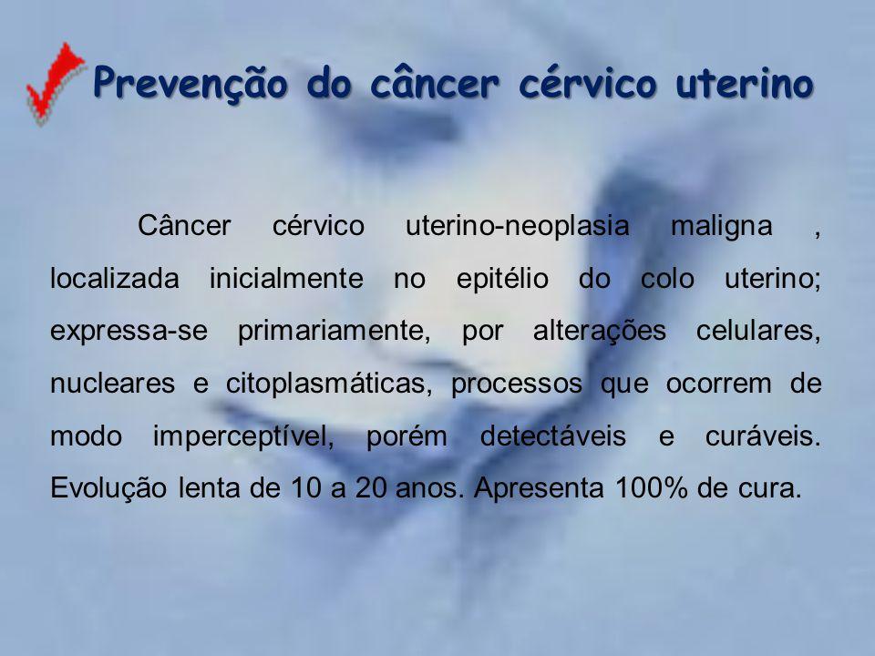 Câncer cérvico uterino-neoplasia maligna, localizada inicialmente no epitélio do colo uterino; expressa-se primariamente, por alterações celulares, nu