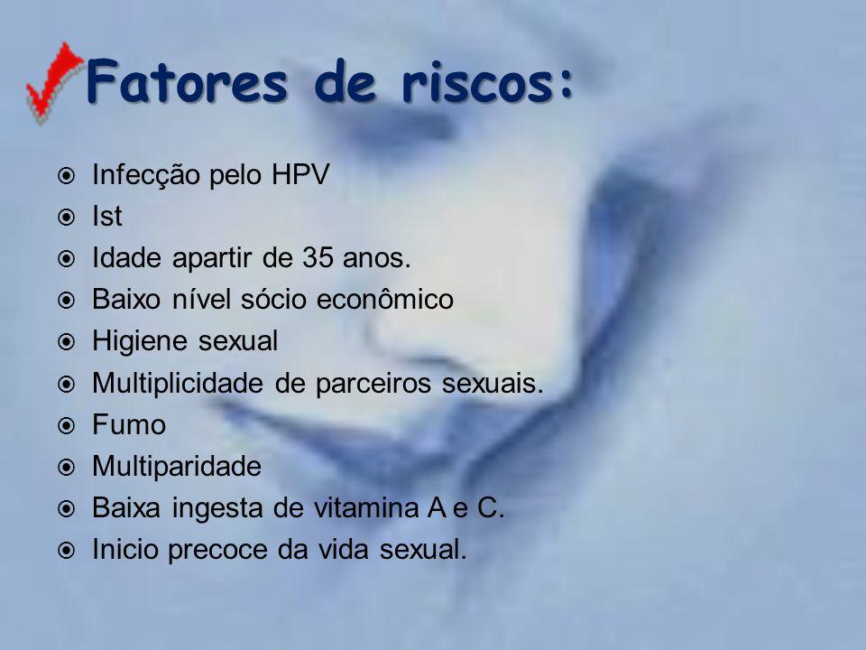 Fatores de riscos:  Infecção pelo HPV  Ist  Idade apartir de 35 anos.  Baixo nível sócio econômico  Higiene sexual  Multiplicidade de parceiros