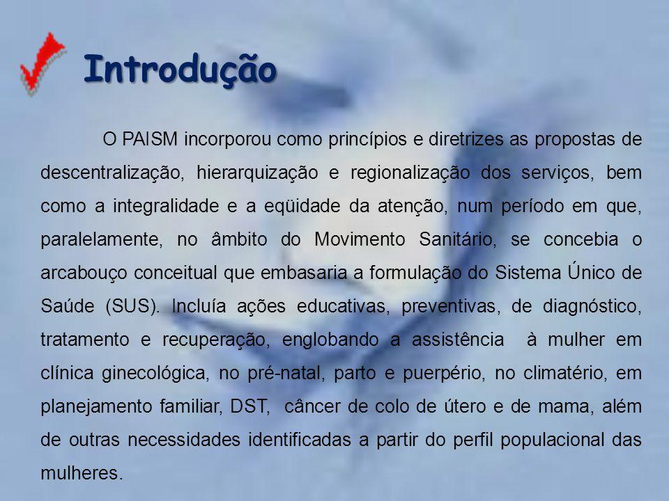 Introdução Introdução O PAISM incorporou como princípios e diretrizes as propostas de descentralização, hierarquização e regionalização dos serviços,