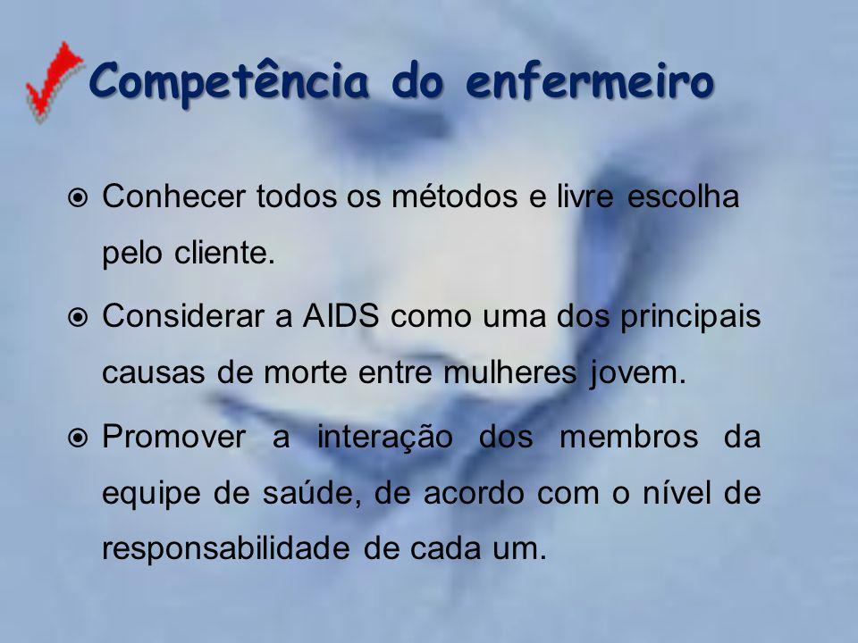 Competência do enfermeiro Competência do enfermeiro  Conhecer todos os métodos e livre escolha pelo cliente.  Considerar a AIDS como uma dos princip