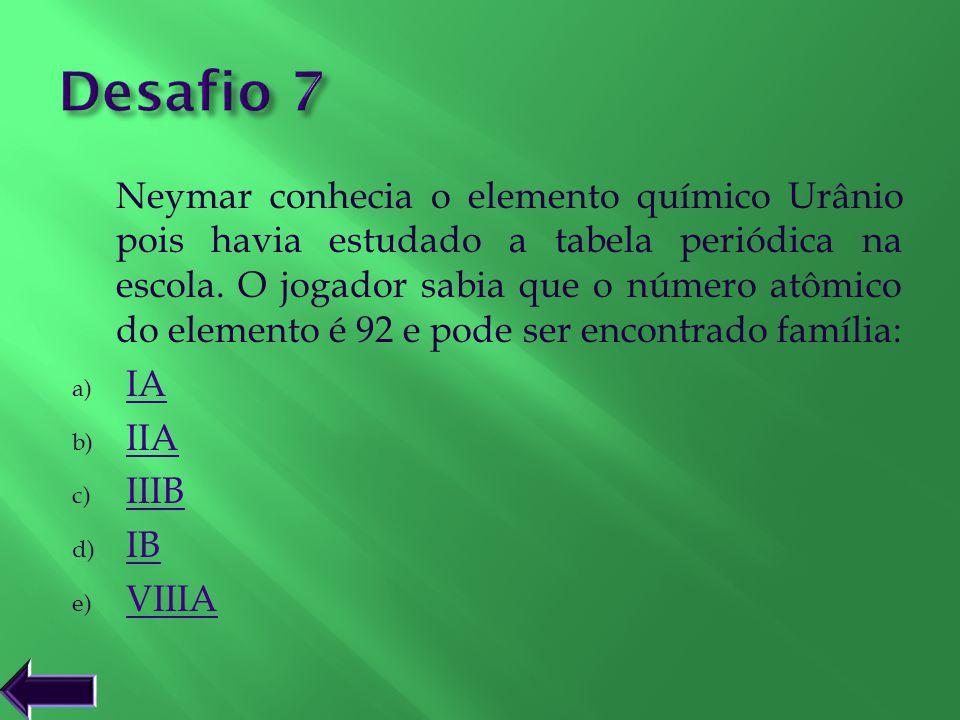 Neymar conhecia o elemento químico Urânio pois havia estudado a tabela periódica na escola. O jogador sabia que o número atômico do elemento é 92 e po