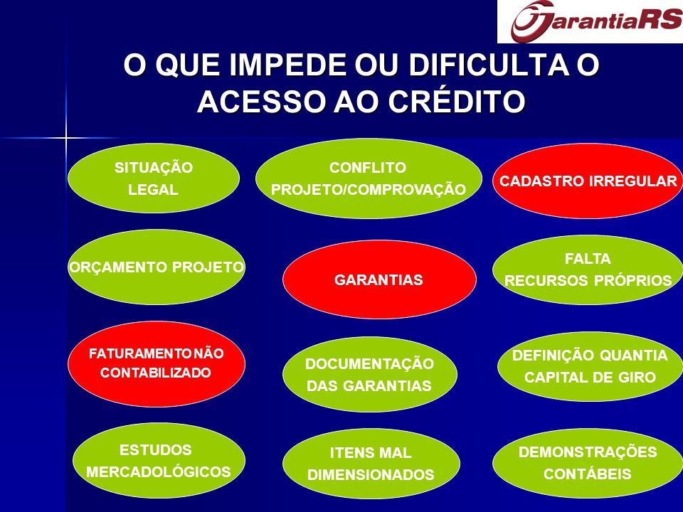 O QUE IMPEDE OU DIFICULTA O ACESSO AO CRÉDITO SITUAÇÃO LEGAL ORÇAMENTO PROJETO DOCUMENTAÇÃO DAS GARANTIAS ESTUDOS MERCADOLÓGICOS CONFLITO PROJETO/COMPROVAÇÃO FATURAMENTO NÃO CONTABILIZADO GARANTIAS ITENS MAL DIMENSIONADOS CADASTRO IRREGULAR FALTA RECURSOS PRÓPRIOS DEFINIÇÃO QUANTIA CAPITAL DE GIRO DEMONSTRAÇÕES CONTÁBEIS