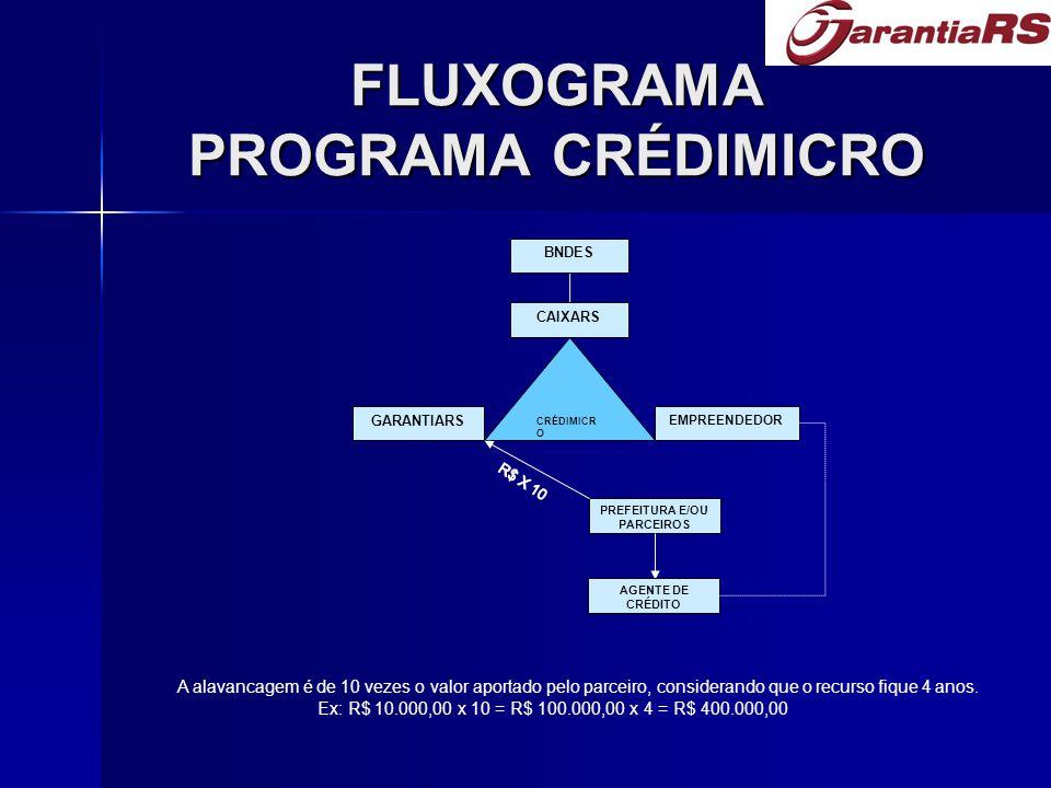 FLUXOGRAMA PROGRAMA CRÉDIMICRO CRÉDIMICR O BNDES CAIXARS GARANTIARS EMPREENDEDOR PREFEITURA E/OU PARCEIROS AGENTE DE CRÉDITO A alavancagem é de 10 vez