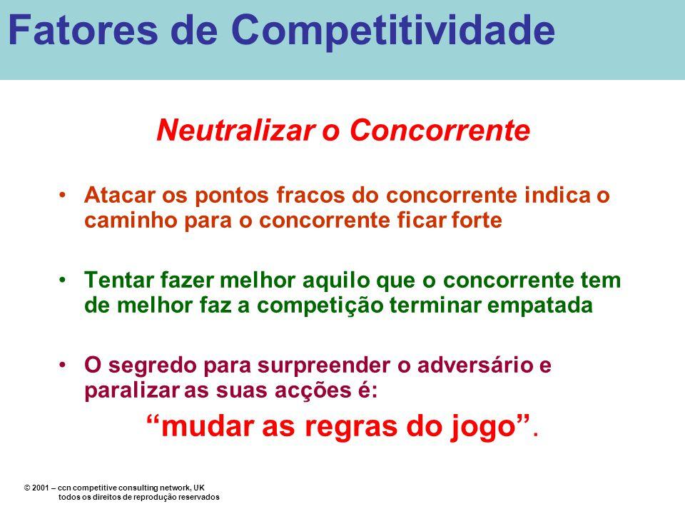 Neutralizar o Concorrente Atacar os pontos fracos do concorrente indica o caminho para o concorrente ficar forte Tentar fazer melhor aquilo que o conc