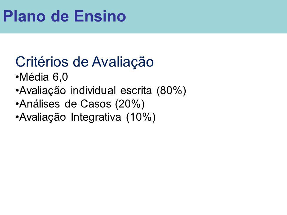 Critérios de Avaliação Média 6,0 Avaliação individual escrita (80%) Análises de Casos (20%) Avaliação Integrativa (10%) Plano de Ensino