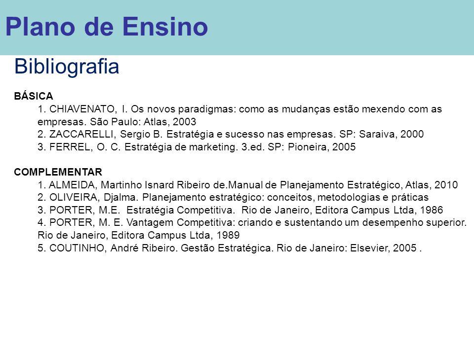 Plano de Ensino Bibliografia BÁSICA 1. CHIAVENATO, I. Os novos paradigmas: como as mudanças estão mexendo com as empresas. São Paulo: Atlas, 2003 2. Z