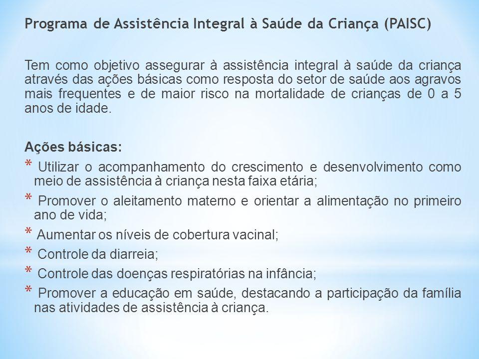 Programa de Assistência Integral à Saúde da Criança (PAISC) Tem como objetivo assegurar à assistência integral à saúde da criança através das ações bá