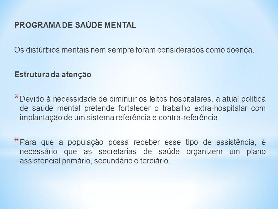 PROGRAMA DE SAÚDE MENTAL Os distúrbios mentais nem sempre foram considerados como doença. Estrutura da atenção * Devido à necessidade de diminuir os l