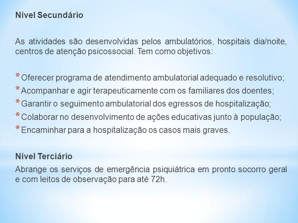Nível Secundário As atividades são desenvolvidas pelos ambulatórios, hospitais dia/noite, centros de atenção psicossocial. Tem como objetivos: * Ofere