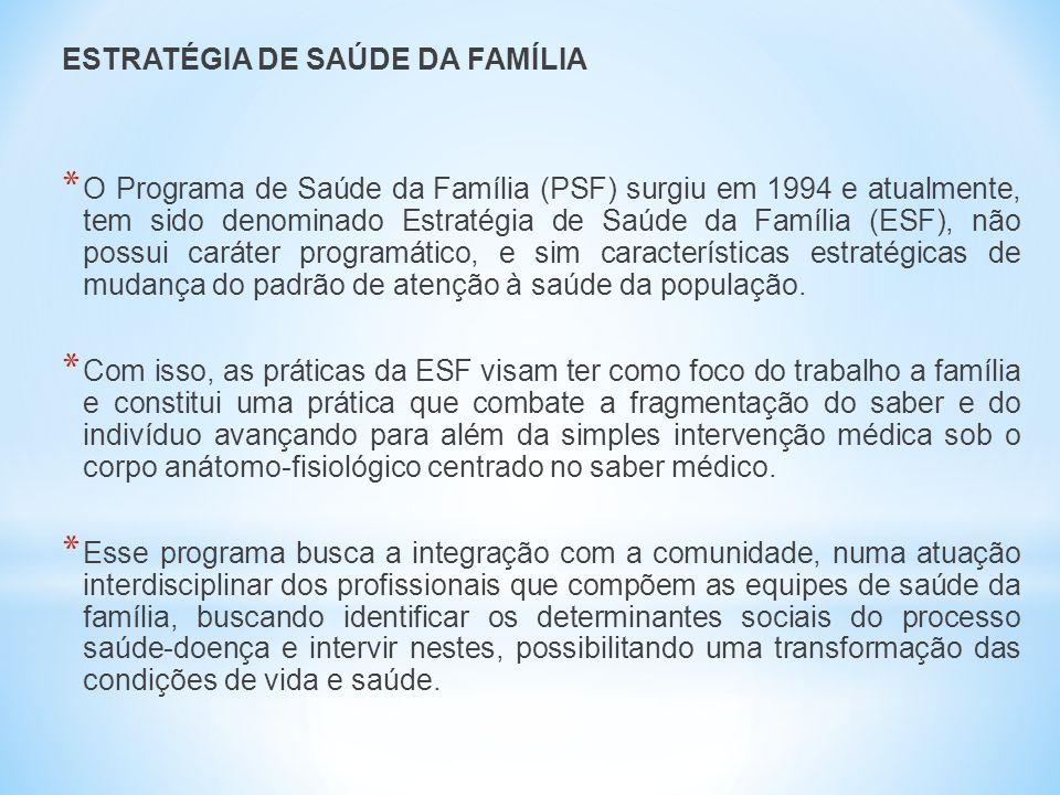 ESTRATÉGIA DE SAÚDE DA FAMÍLIA * O Programa de Saúde da Família (PSF) surgiu em 1994 e atualmente, tem sido denominado Estratégia de Saúde da Família