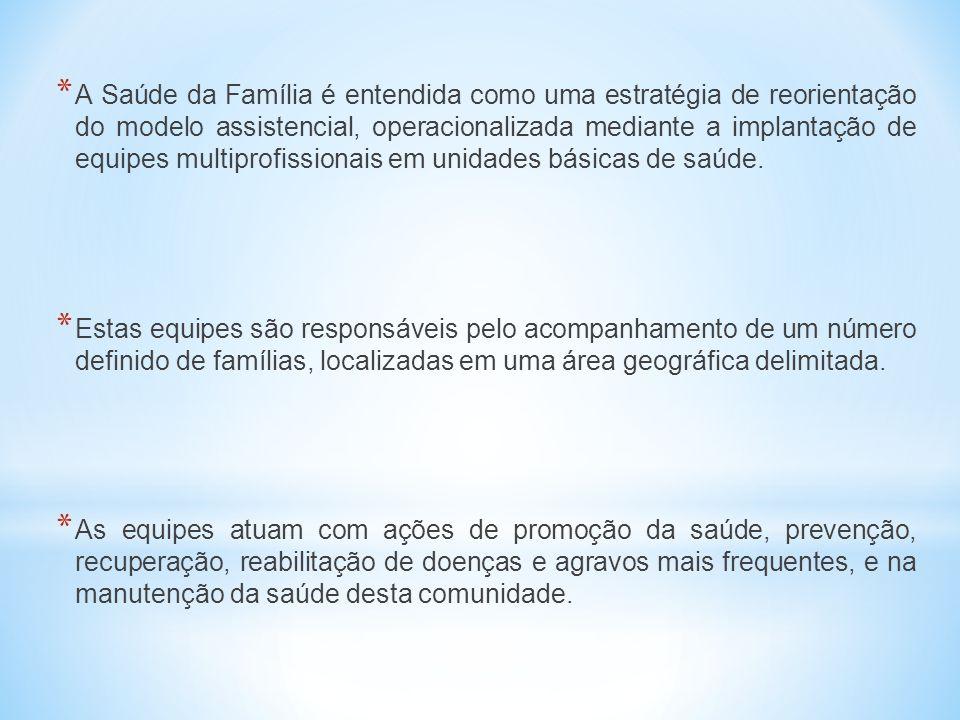 * A Saúde da Família é entendida como uma estratégia de reorientação do modelo assistencial, operacionalizada mediante a implantação de equipes multip