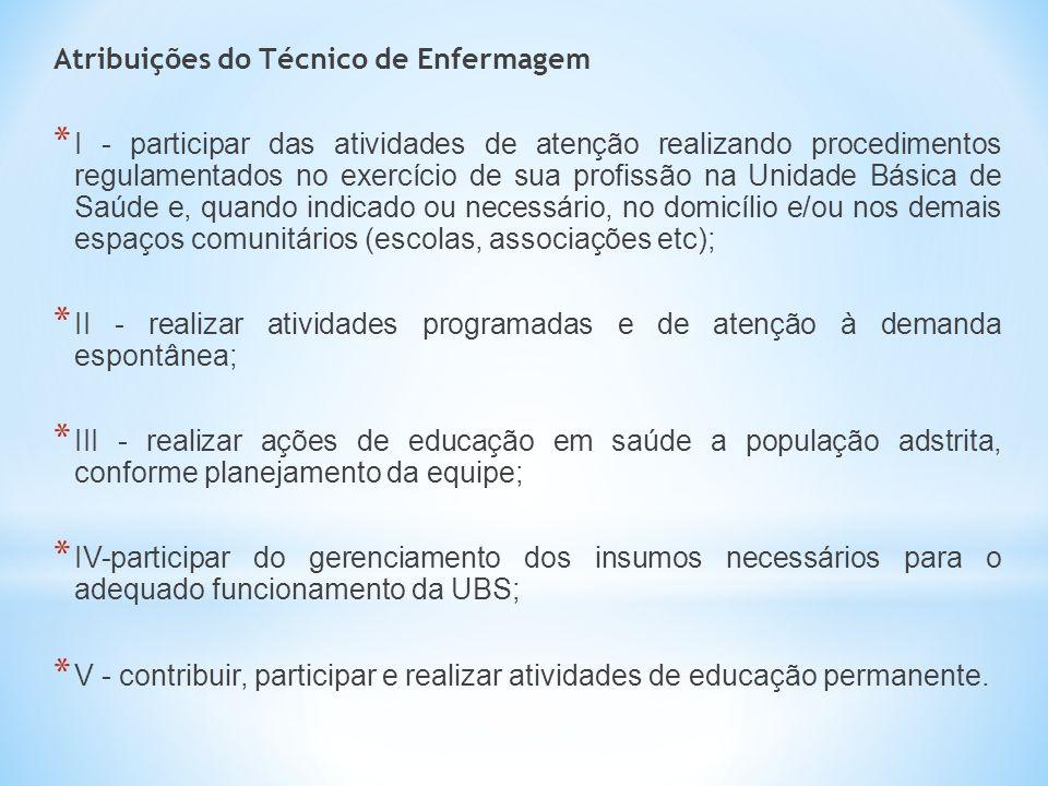 Atribuições do Técnico de Enfermagem * I - participar das atividades de atenção realizando procedimentos regulamentados no exercício de sua profissão