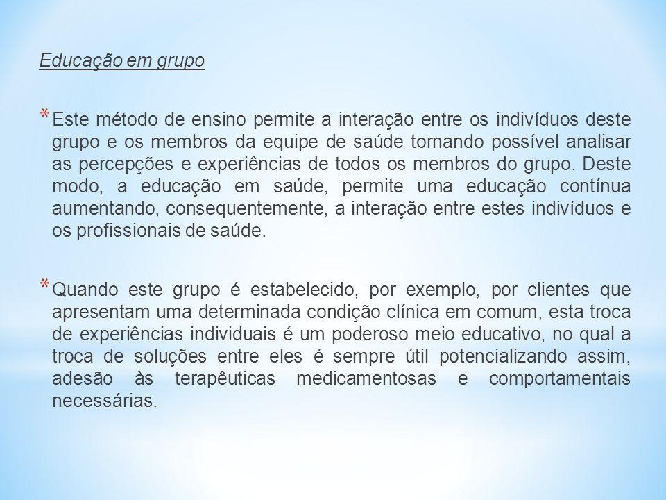 Educação em grupo * Este método de ensino permite a interação entre os indivíduos deste grupo e os membros da equipe de saúde tornando possível analis