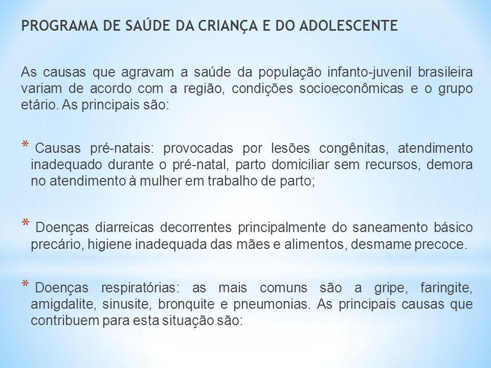PROGRAMA DE SAÚDE DA CRIANÇA E DO ADOLESCENTE As causas que agravam a saúde da população infanto-juvenil brasileira variam de acordo com a região, con