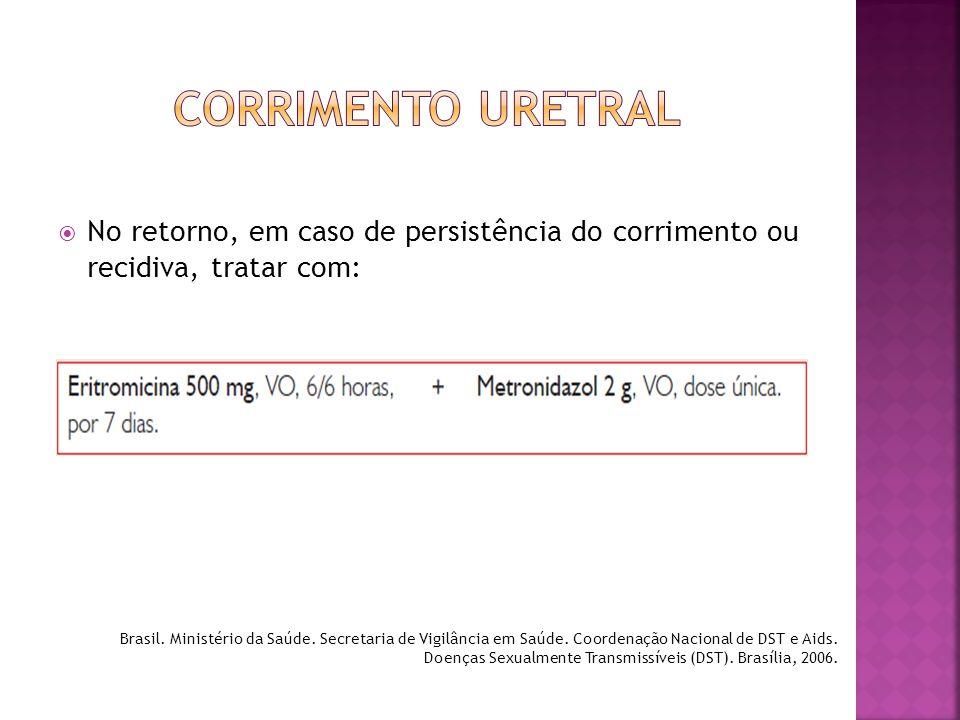  No retorno, em caso de persistência do corrimento ou recidiva, tratar com: Brasil. Ministério da Saúde. Secretaria de Vigilância em Saúde. Coordenaç