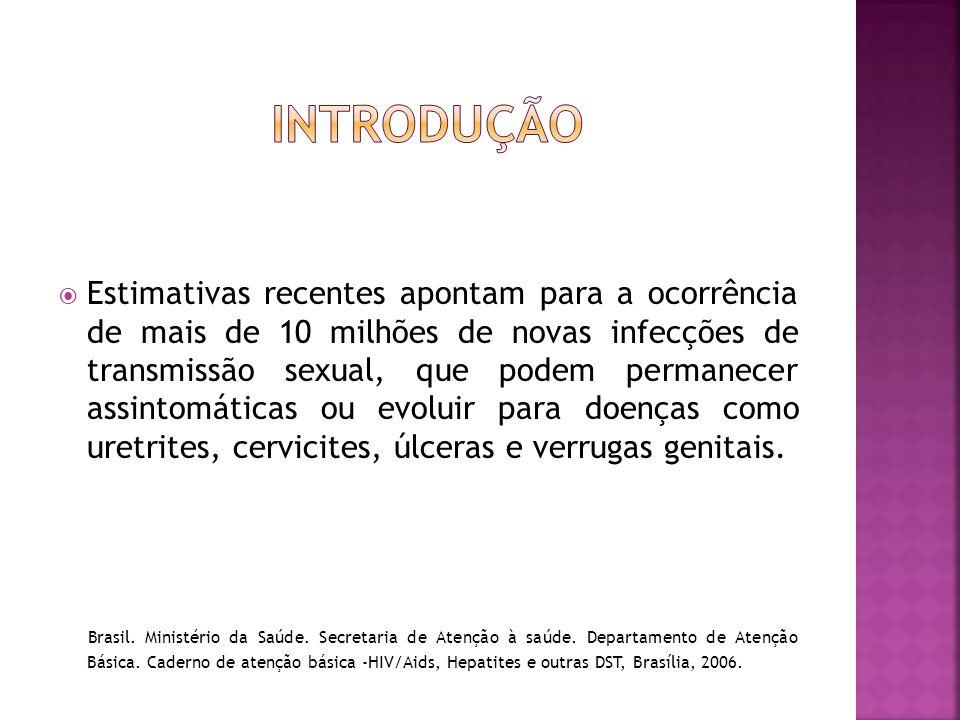  Estimativas recentes apontam para a ocorrência de mais de 10 milhões de novas infecções de transmissão sexual, que podem permanecer assintomáticas o