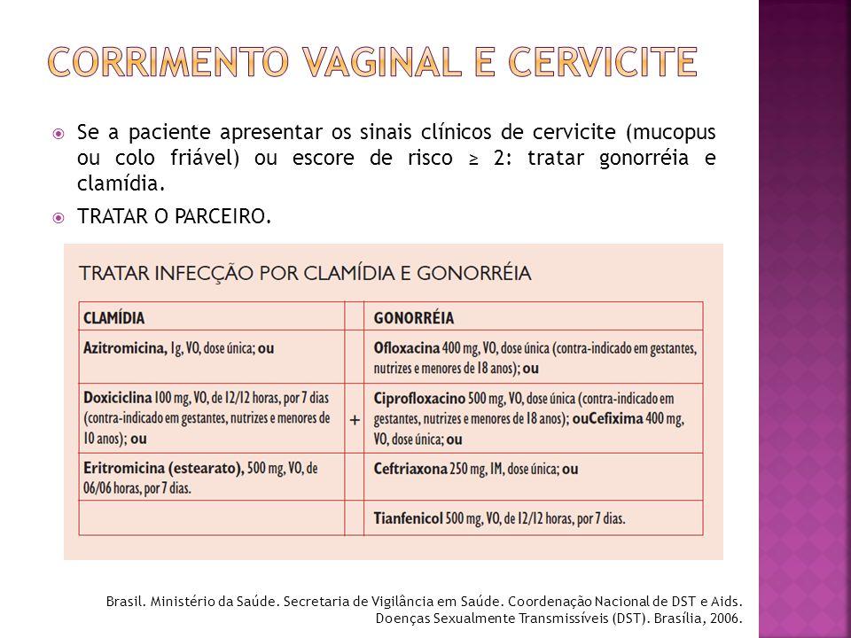  Se a paciente apresentar os sinais clínicos de cervicite (mucopus ou colo friável) ou escore de risco ≥ 2: tratar gonorréia e clamídia.  TRATAR O P