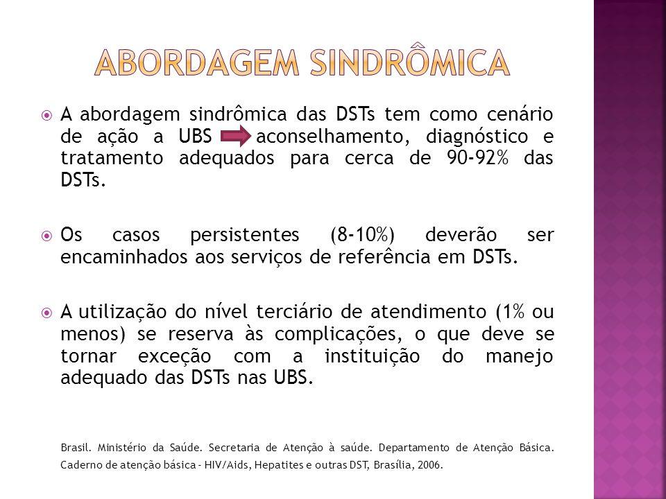  A abordagem sindrômica das DSTs tem como cenário de ação a UBS aconselhamento, diagnóstico e tratamento adequados para cerca de 90-92% das DSTs.  O