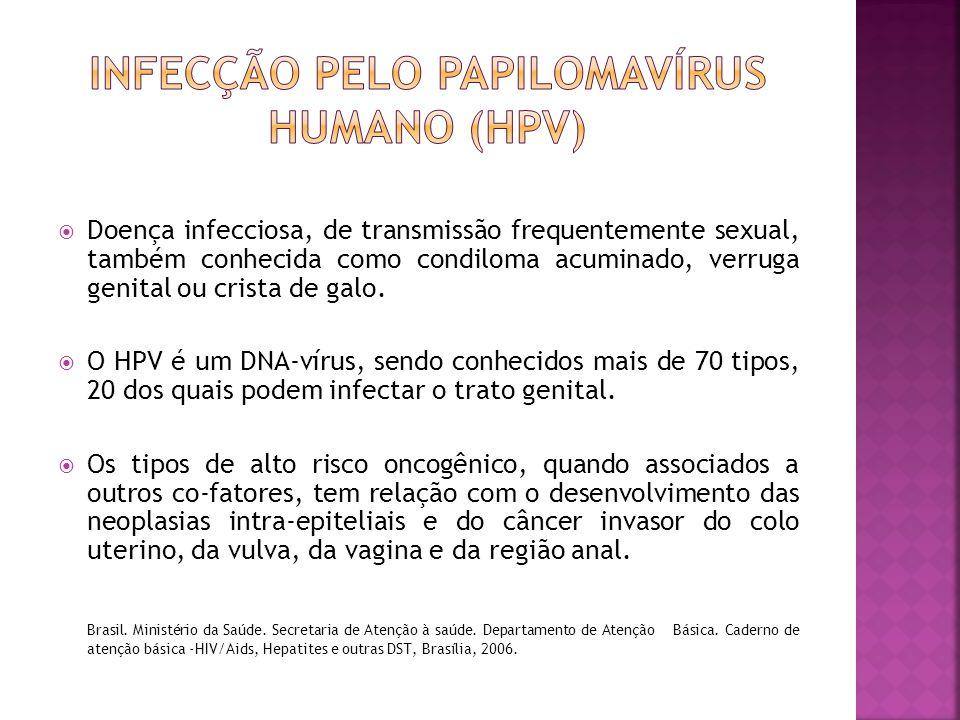  Doença infecciosa, de transmissão frequentemente sexual, também conhecida como condiloma acuminado, verruga genital ou crista de galo.  O HPV é um