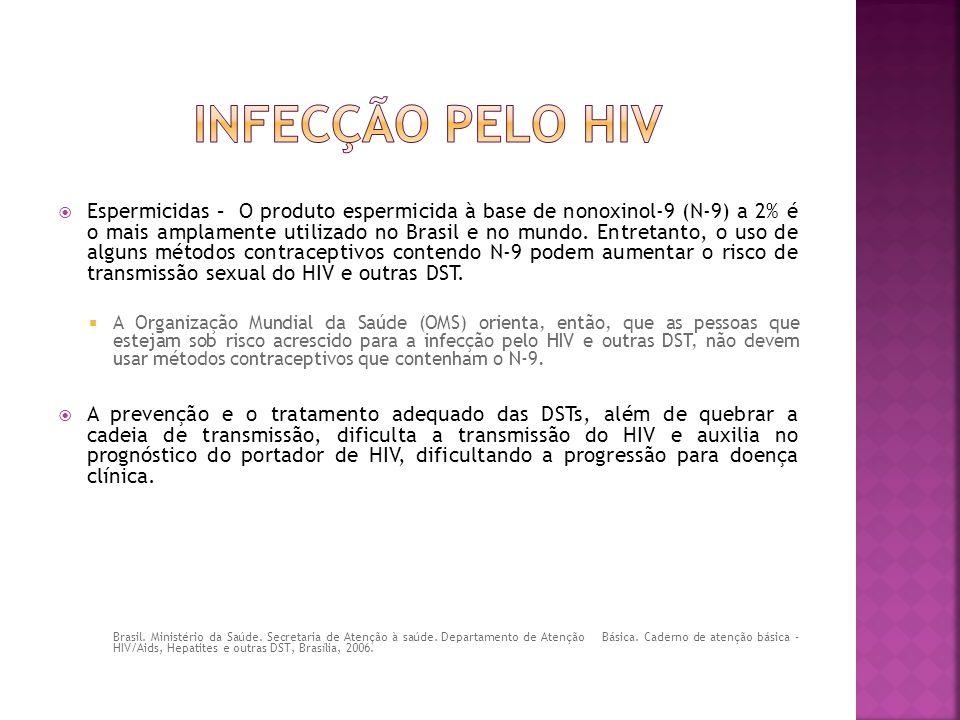  Espermicidas – O produto espermicida à base de nonoxinol-9 (N-9) a 2% é o mais amplamente utilizado no Brasil e no mundo. Entretanto, o uso de algun