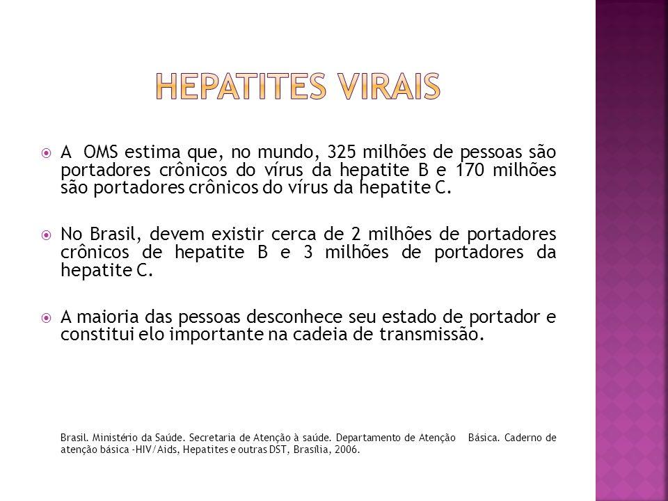  A OMS estima que, no mundo, 325 milhões de pessoas são portadores crônicos do vírus da hepatite B e 170 milhões são portadores crônicos do vírus da