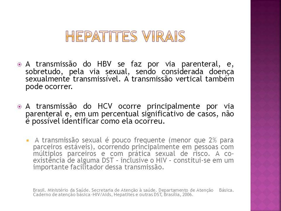  A transmissão do HBV se faz por via parenteral, e, sobretudo, pela via sexual, sendo considerada doença sexualmente transmissível. A transmissão ver