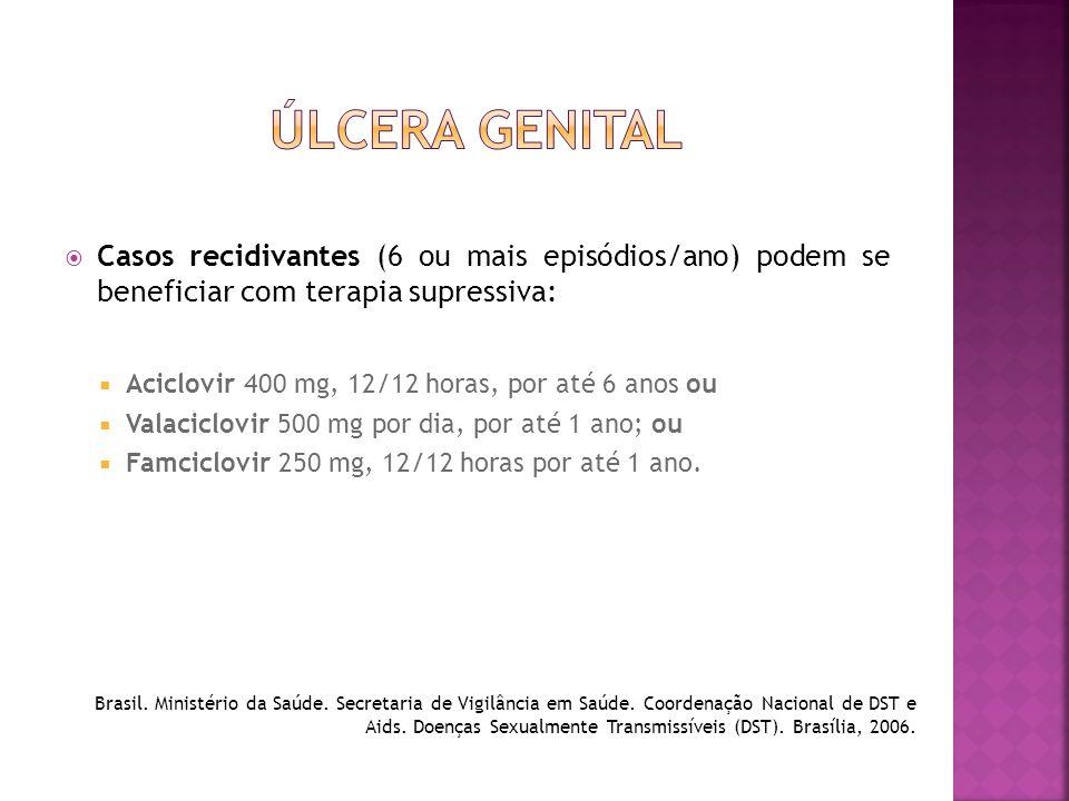  Casos recidivantes (6 ou mais episódios/ano) podem se beneficiar com terapia supressiva:  Aciclovir 400 mg, 12/12 horas, por até 6 anos ou  Valaci