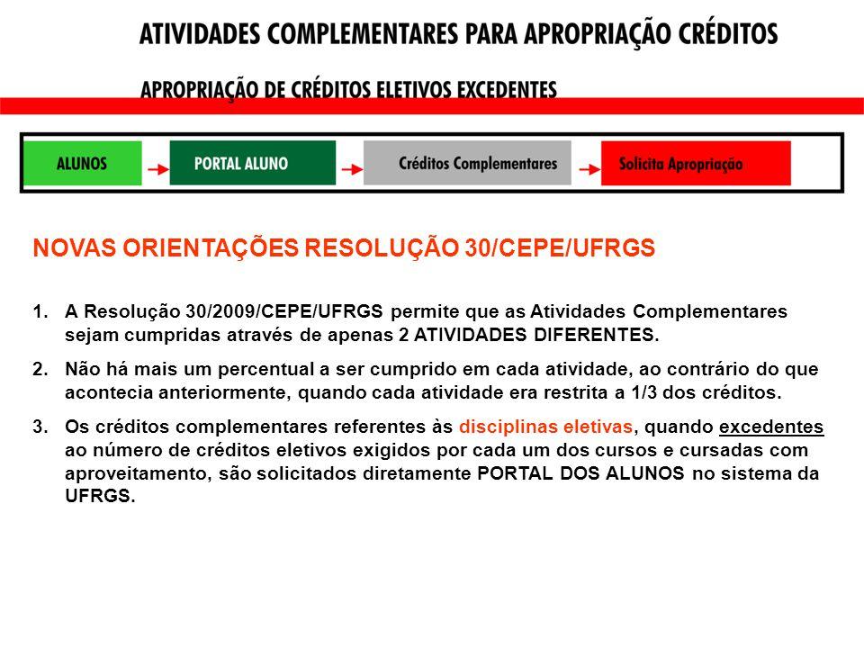 NOVAS ORIENTAÇÕES RESOLUÇÃO 30/CEPE/UFRGS 1.A Resolução 30/2009/CEPE/UFRGS permite que as Atividades Complementares sejam cumpridas através de apenas 2 ATIVIDADES DIFERENTES.