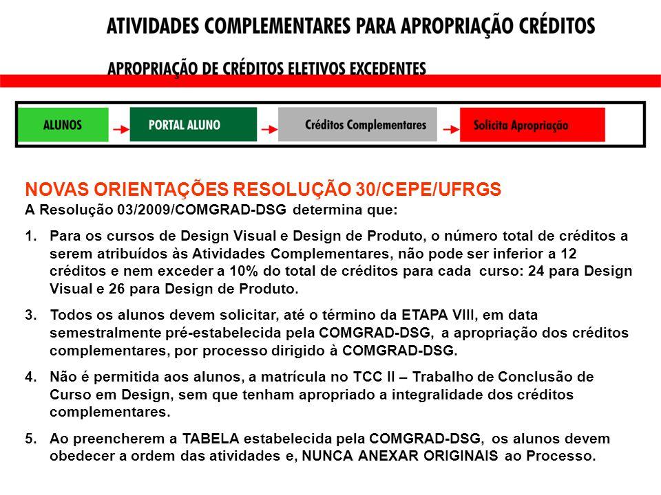 NOVAS ORIENTAÇÕES RESOLUÇÃO 30/CEPE/UFRGS A Resolução 03/2009/COMGRAD-DSG determina que: 1.Para os cursos de Design Visual e Design de Produto, o número total de créditos a serem atribuídos às Atividades Complementares, não pode ser inferior a 12 créditos e nem exceder a 10% do total de créditos para cada curso: 24 para Design Visual e 26 para Design de Produto.