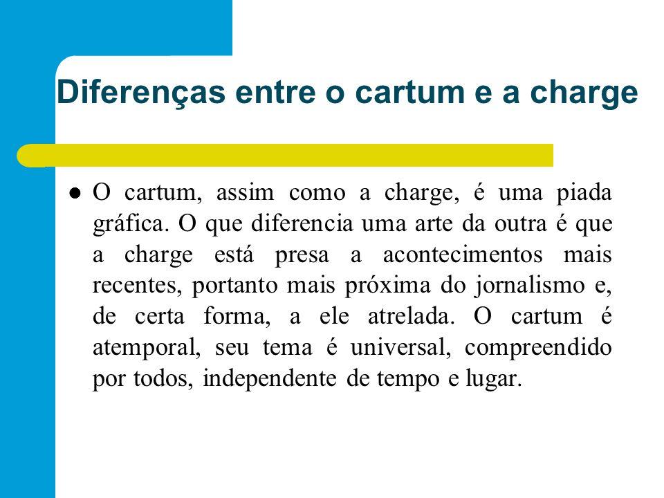 Diferenças entre o cartum e a charge O cartum, assim como a charge, é uma piada gráfica.