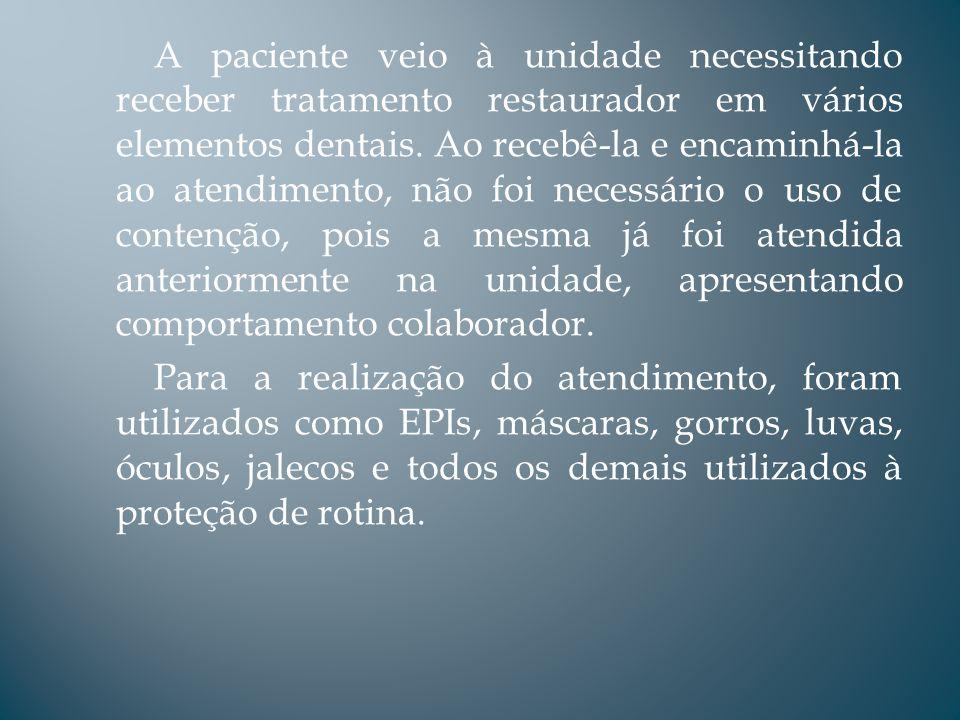 A paciente veio à unidade necessitando receber tratamento restaurador em vários elementos dentais. Ao recebê-la e encaminhá-la ao atendimento, não foi