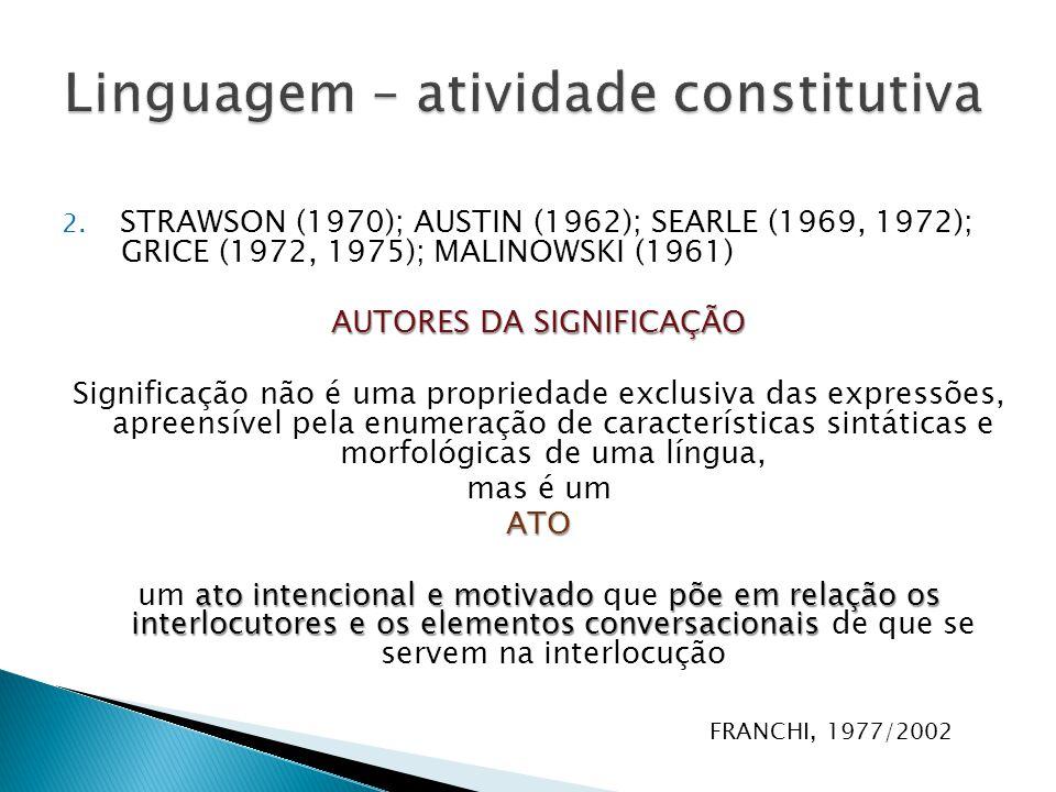 2. STRAWSON (1970); AUSTIN (1962); SEARLE (1969, 1972); GRICE (1972, 1975); MALINOWSKI (1961) AUTORES DA SIGNIFICAÇÃO Significação não é uma proprieda