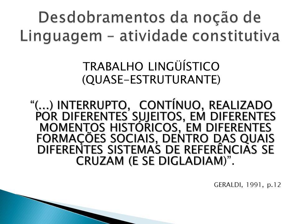 """TRABALHO LINGÜÍSTICO (QUASE-ESTRUTURANTE) """"(...) INTERRUPTO, CONTÍNUO, REALIZADO POR DIFERENTES SUJEITOS, EM DIFERENTES MOMENTOS HISTÓRICOS, EM DIFERE"""