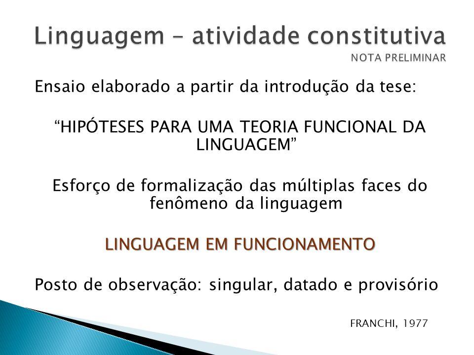 """Ensaio elaborado a partir da introdução da tese: """"HIPÓTESES PARA UMA TEORIA FUNCIONAL DA LINGUAGEM"""" Esforço de formalização das múltiplas faces do fen"""