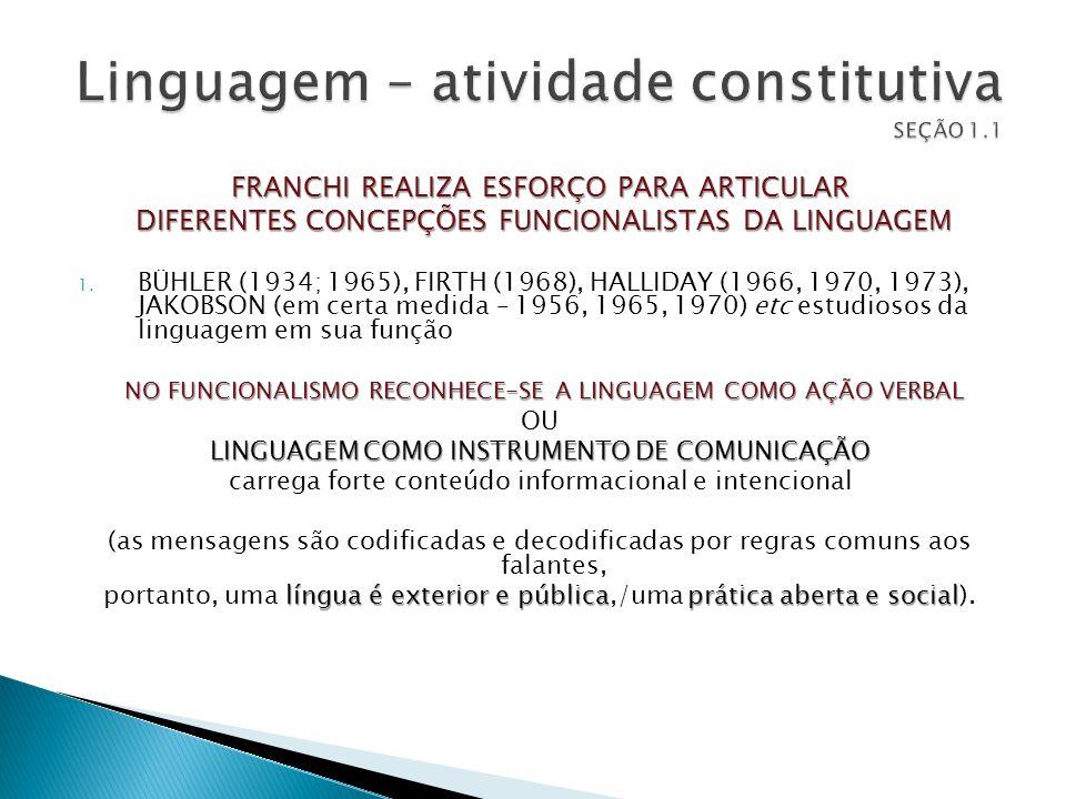FRANCHI REALIZA ESFORÇO PARA ARTICULAR DIFERENTES CONCEPÇÕES FUNCIONALISTAS DA LINGUAGEM DIFERENTES CONCEPÇÕES FUNCIONALISTAS DA LINGUAGEM 1. BÜHLER (