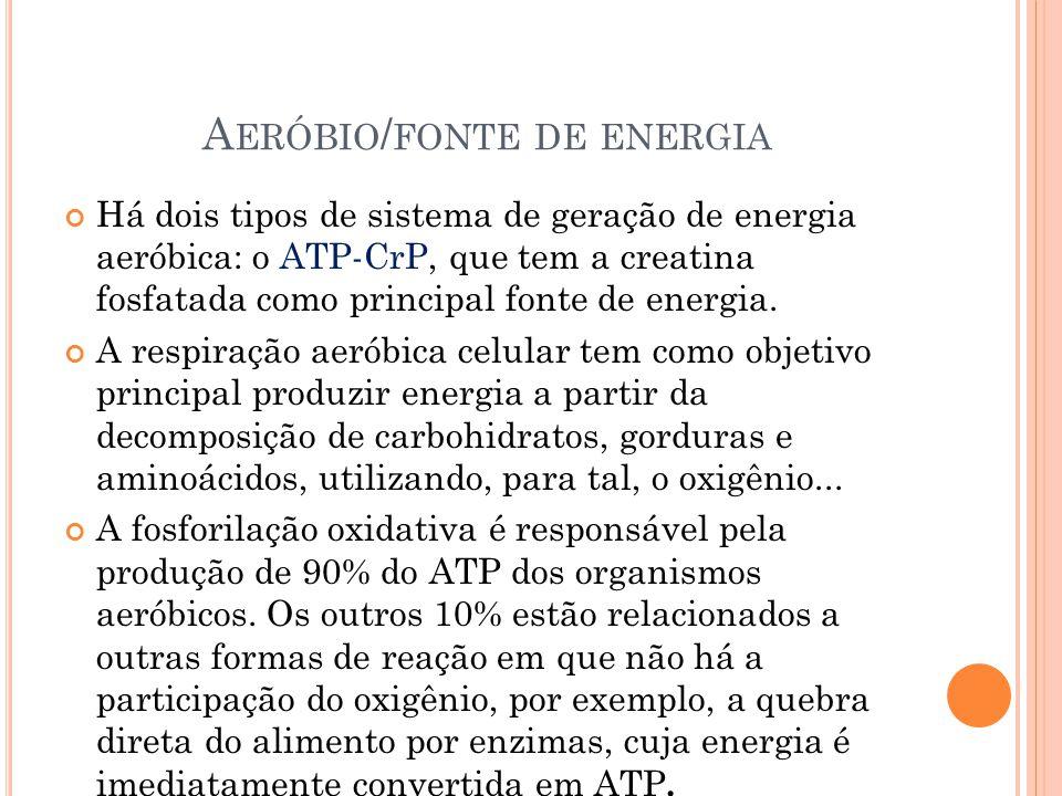A ERÓBIO / FONTE DE ENERGIA Há dois tipos de sistema de geração de energia aeróbica: o ATP-CrP, que tem a creatina fosfatada como principal fonte de energia.
