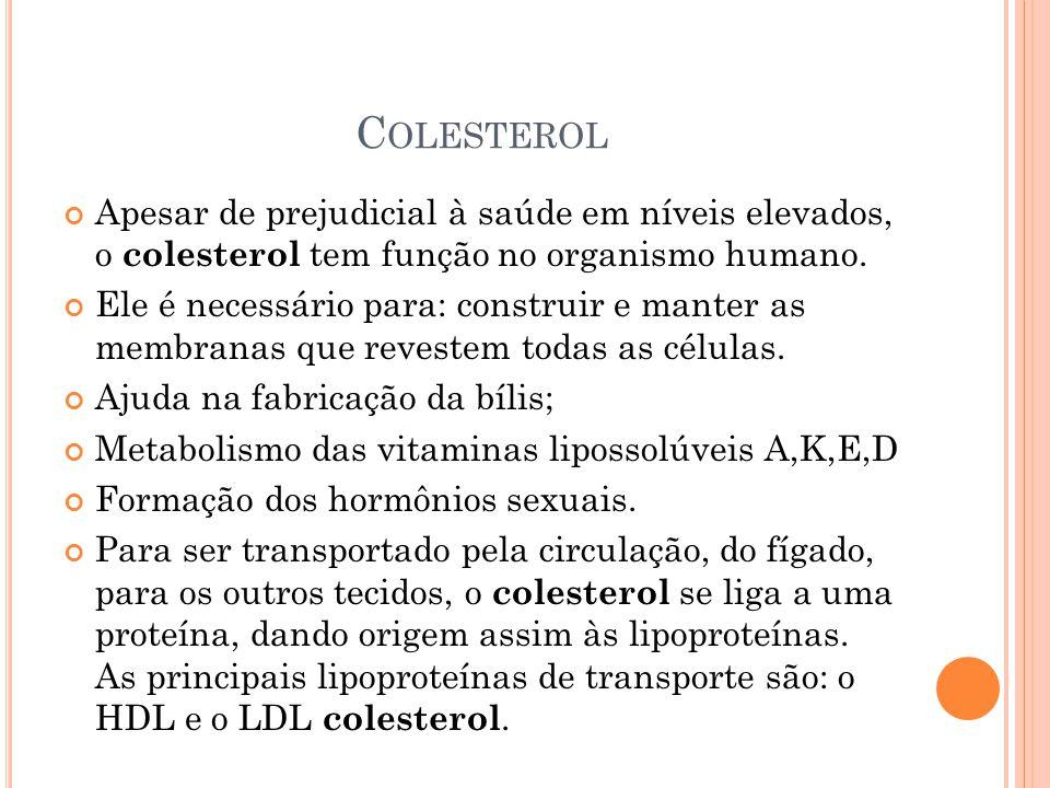 C OLESTEROL Apesar de prejudicial à saúde em níveis elevados, o colesterol tem função no organismo humano. Ele é necessário para: construir e manter a