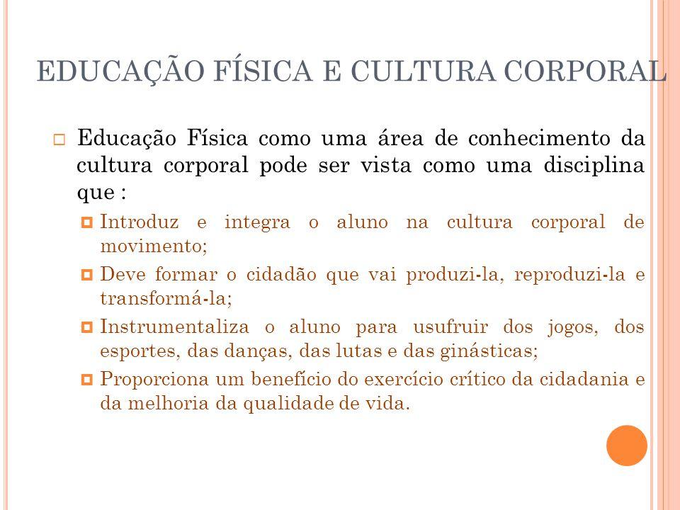 EDUCAÇÃO FÍSICA E CULTURA CORPORAL  Educação Física como uma área de conhecimento da cultura corporal pode ser vista como uma disciplina que :  Intr