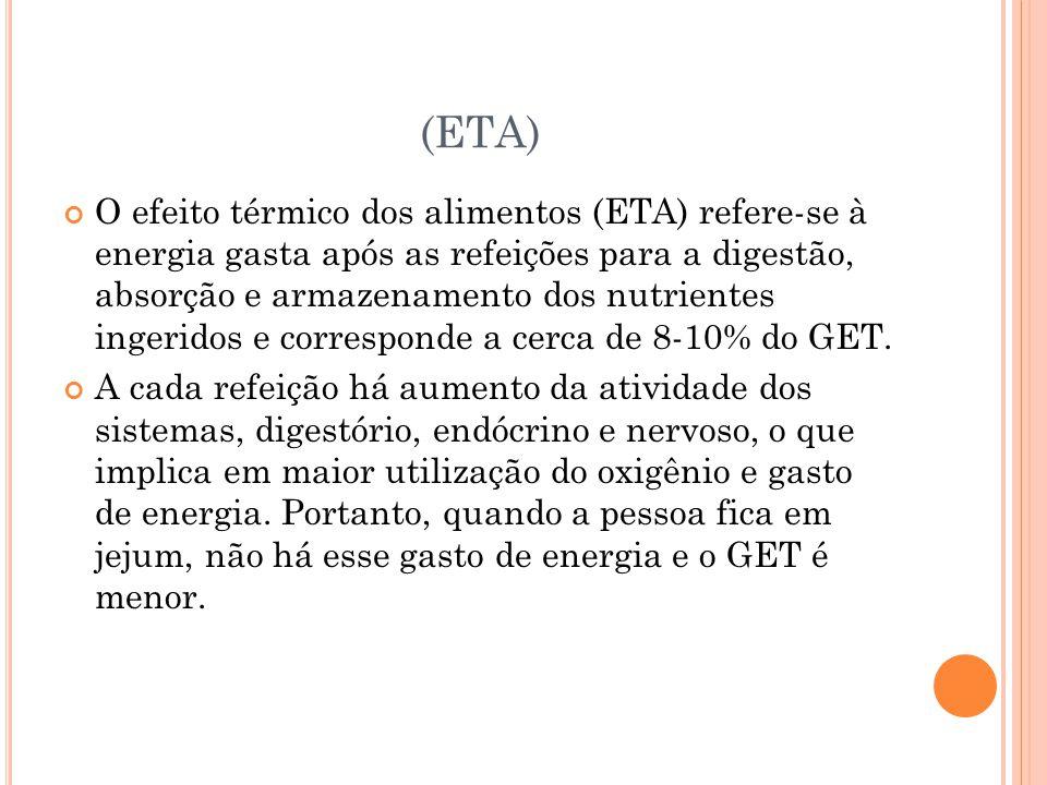 (ETA) O efeito térmico dos alimentos (ETA) refere-se à energia gasta após as refeições para a digestão, absorção e armazenamento dos nutrientes ingeridos e corresponde a cerca de 8-10% do GET.